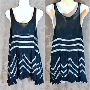 Free People Navy Voile Lace Trapeze Dress, Small